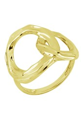 Bony Levy 14K Yellow Gold Hammered Interlocked Stacking Ring Size 6.5