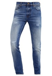 7 For All Mankind Ronnie Slim Fit Jeans Mid Blue Destroyed