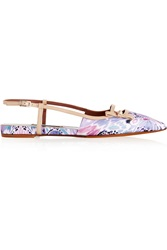 Tabitha Simmons Dilly Leather Trimmed Printed Satin Pointed Toe Flats