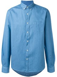 Sunspel Button Down Denim Shirt Blue