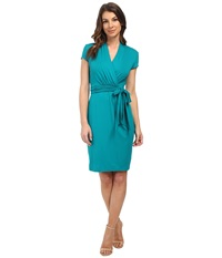 Adrianna Papell Short Sleeve Wrap Dress Turquoise Women's Dress Blue