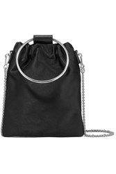 Theory Post Small Leather Trimmed Satin Shoulder Bag Black