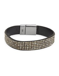 Design Lab Lord And Taylor Stone Accented Magnetic Bracelet Hematite