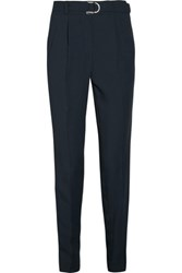 Maje Paloma Belted Canvas Tapered Pants Midnight Blue