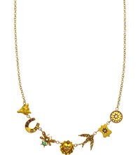 Annina Vogel 9Ct Yellow Gold Bug Horseshoe Swallow And Fox Line Necklace