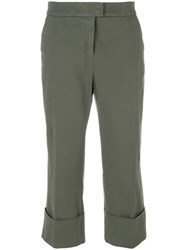 Fabiana Filippi Cropped Casual Trousers Cotton Spandex Elastane Green