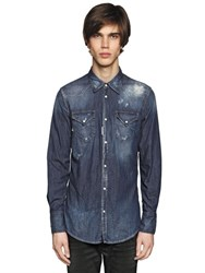 Dsquared Washed Cotton Denim Western Shirt
