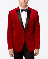Bar Iii Men's Slim Fit Red Velvet Sport Coat Only At Macy's