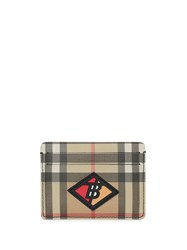 Burberry Logo Graphic Vintage Check E Canvas Card Case Neutrals