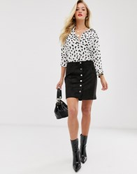 Mango Faux Suede Button Front Mini Skirt In Black Brown