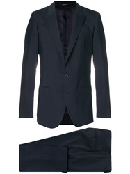 Dolce And Gabbana Buttoned Up Formal Suit Blue