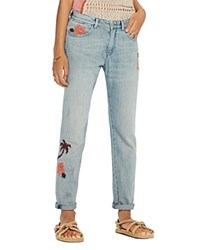 Scotch And Soda Bandit Floral Embroidered Slim Boyfriend Jeans In Blue