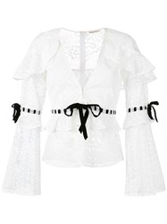 For Love And Lemons Bonita Blouse Women Nylon Polyester Spandex Elastane S White