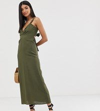 Asos Design Tall Knot Front Linen Maxi Dress With Tie Back Green