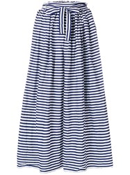 Daniela Gregis Striped Full Skirt White