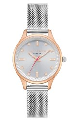 Ted Baker London Zoe Mesh Strap Watch 32Mm Silver Rose Gold
