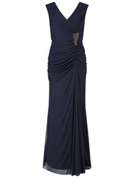 Adrianna Papell Cap Sleeve Shirred Gown With Beaded Detail Ink