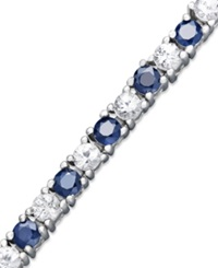 Macy's Sterling Silver Bracelet Blue Sapphire 4 1 4 Ct. T.W. And White Sapphire 3 3 4 Ct. T.W. Tennis