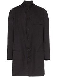 Yohji Yamamoto Japanese Print Single Breasted Cotton Overcoat Black