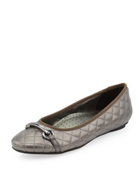 Neiman Marcus Suzy Quilted Buckled Flat Pewter Pearl