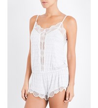 Eberjey Teddy Stretch Jersey And Lace Playsuit Mag Mango