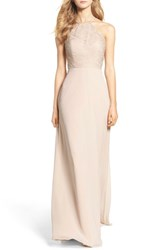 Hayley Paige Occasions Women's Lace Halter Gown Champagne