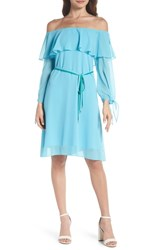 Sam Edelman Off The Shoulder Ruffle And Tie Dress Turquoise