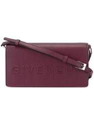 Givenchy Logo Embossed Crossbody Satchel Red