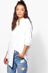 Boohoo Kayla Linen Look Oversized Shirt White