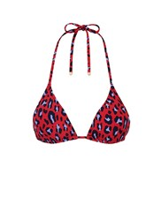 Stella Mccartney 'Animal' Leopard Print Triangle Bikini Top Animal Print Red