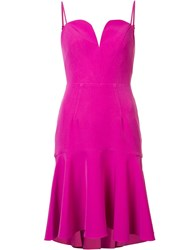 Milly Sweetheart Neck Ruffled Dress Pink Purple