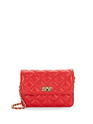 Saks Fifth Avenue Sissy Quilted Leather Wallet On A Chain Crossbody Red