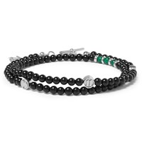 Isaia Onyx Agate And Silver Bead Wrap Bracelet Black