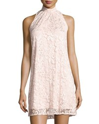 Chetta B High Neck Sleeveless Lace Shift Dress Light Pink
