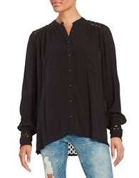 Free People The Best Top Crochet Accented Button Front Shirt Black