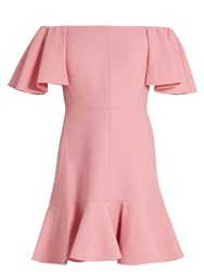 Valentino Off The Shoulder Crepe Mini Dress Pink