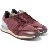 Valentino Canvas Leather And Suede Sneakers Burgundy