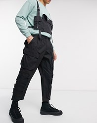 Sixth June Cargo Trousers In Straight Fit In Black
