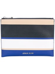 Armani Jeans Striped Wallet Women Synthetic Resin One Size Blue