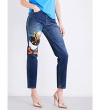 Fiorucci Donald Duck Regular Fit Tapered High Rise Jeans Blue