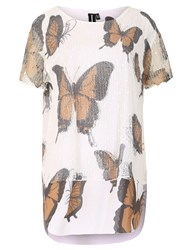Izabel London Oversized Butterfly Print Top Brown