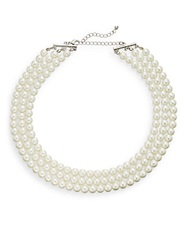 Ak Anne Klein Nested Faux Pearl Three Strand Necklace Pearl Silver