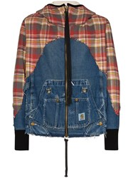 Greg Lauren 50 50 Check Denim Zip Hoodie 60
