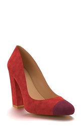 Shoes Of Prey Women's Cap Toe Block Heel Pump Dark Red Suede