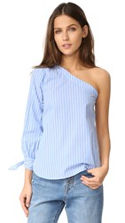 Re Named Coraline One Shoulder Top Blue
