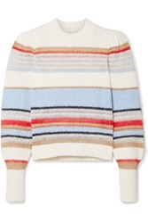 Veronica Beard Meredith Striped Knitted Sweater White