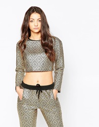 Jaded London Gold Quilted Crop Top