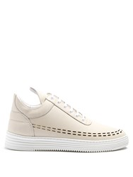 Filling Pieces Perforated Down Low Top Leather Trainers Light Beige
