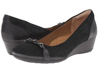 Softspots Cassia Black Linen Women's Wedge Shoes