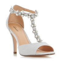 Linea Myra Jewel And Pearl T Bar Peep Toe Sandals Silver